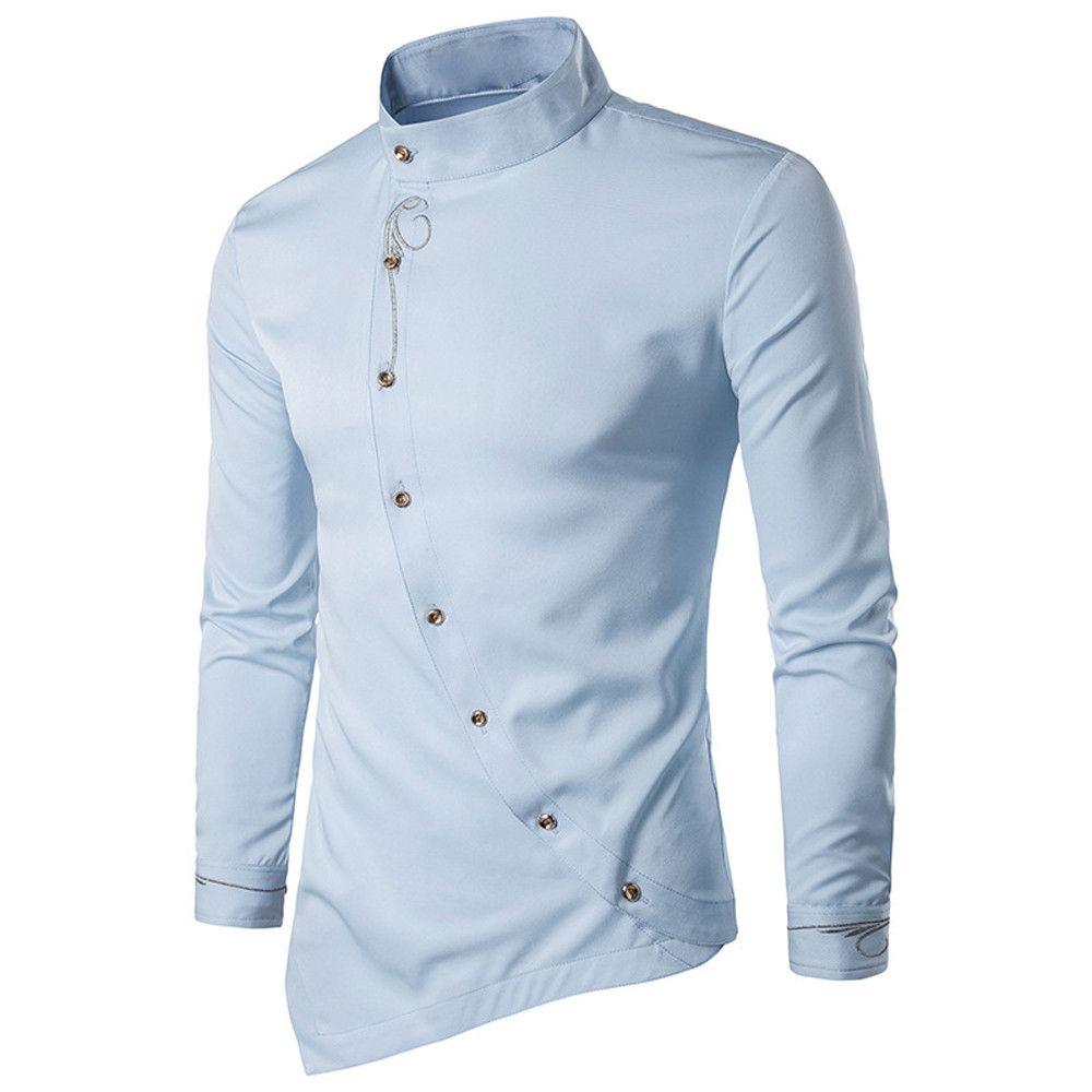 LNCDIS Nakış Gömlek Erkekler Pamuk Sonbahar Rahat Düzensiz Ince Düğme Uzun Kollu Elbise Gömlek Üst Bluz Ithal Giyim 10