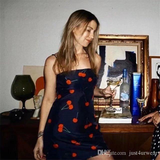 Kadın Kiraz Elbise Seksi Spagetti Kayışı Yaz Bodycon Elbiseler Moda Kılıf Backless Kalem Elbise