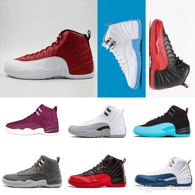 2018 ayakkabı 12 s Basketbol ayakkabı adam beyaz GS Barok Kurt Gri gri oyunu taksi playoffs fransız mavi spor salonu kırmızı yün playoff Sneakers