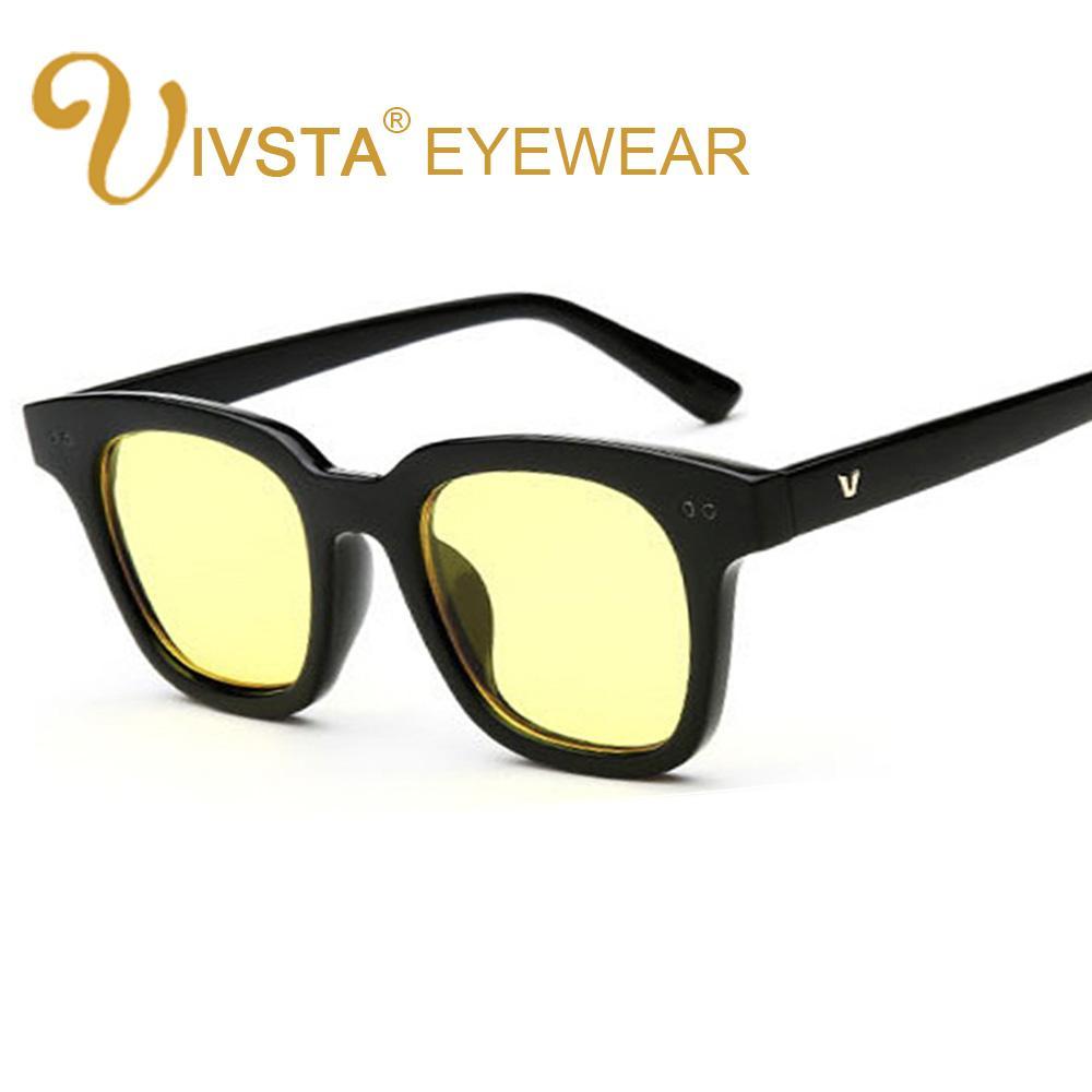 lentes IVSTA coreano óculos de sol amarelos Mar Mulheres 2018 Estilo Borboleta V partido Homens arrefecer doce de geléia cor