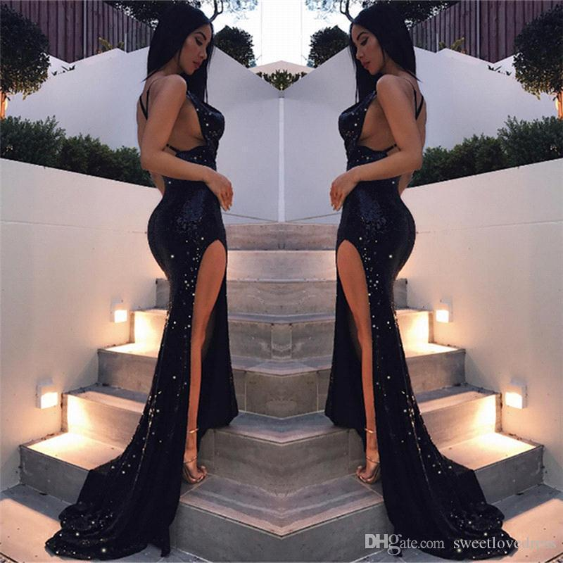 2019 Sexy Sequin Beads Backless Prom Dresses Spaghetti Neck Mermaid Long Evening Gowns For Party Wear