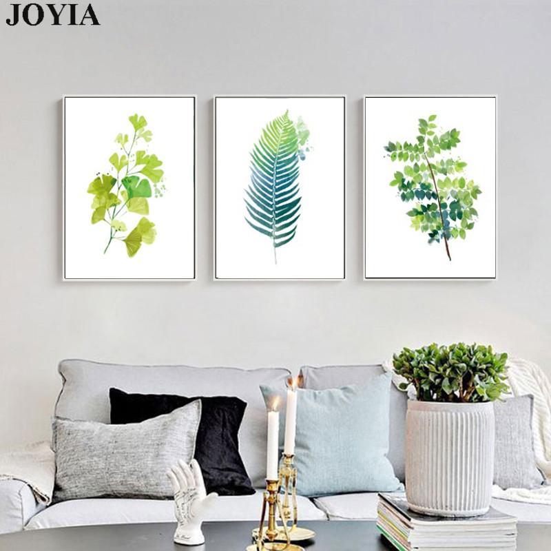 Abstrato Verde Folhas Arte Da Parede Da Lona Moderna Minimalista Home Decor Pinturas Folha Monstera A3 A4 A2 Obras de Arte No Frame