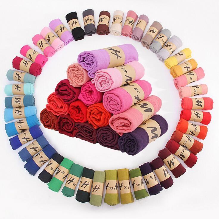 42 colori di moda primavera estate Solid Protezione signora Scarf sole cotone e lino di colore della caramella Sciarpe