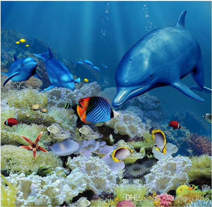3d pvc floor wallpaper for bathroom Dolphin Underwater World 3D three-dimensional bathroom floor tile floor painting