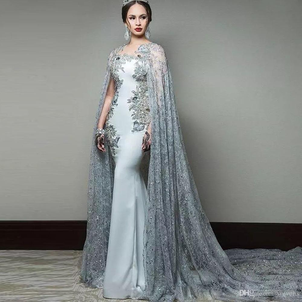 Date robes de soirée sirène abric avec cape bijou cou formelle soirée porter des robes paillettes balayage robes de célébrité