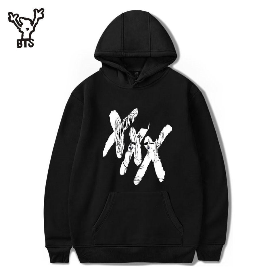 2018 XXXTentacion Kapüşonlular Erkek / Bayan Casual Kazak Streetwear Kazak Sudadera Hombre Harajuku Erkek Hood Crewneck 4XL