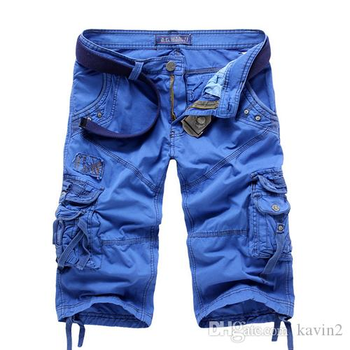 HOT 2020 Summer Washing Multi Pocket Patch Cargo Overalls Knee Length shorts straight Cotton Casual tactical military shorts Men