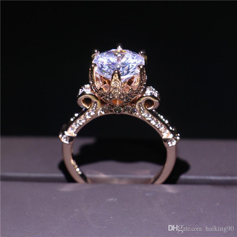 Womens Gemstone 5 Stone Wedding Ring with Black CZ Diamond 14K Rose Gold Plated