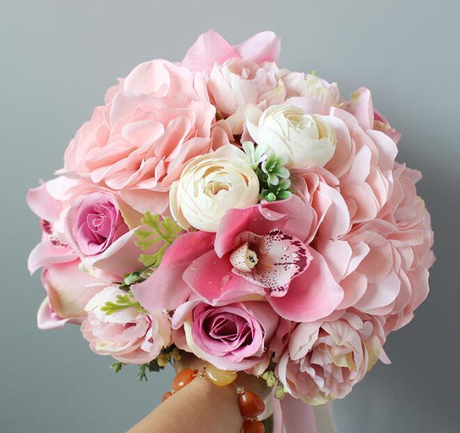 수제 인공 손 꽃다발 핑크 장미 수국 꽃다발 결혼식 신부 꽃 신부 꽃다발 손 꽃다발 신랑 꽃