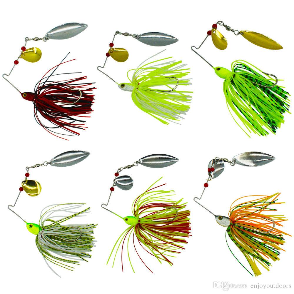 Soft Spinnerbaits Spoons Fishing lures New Double Pieces Spinners fishing lures 15-19G 6 colors 4.6CM 2.4CM Jig Head Metal Spoon Lures