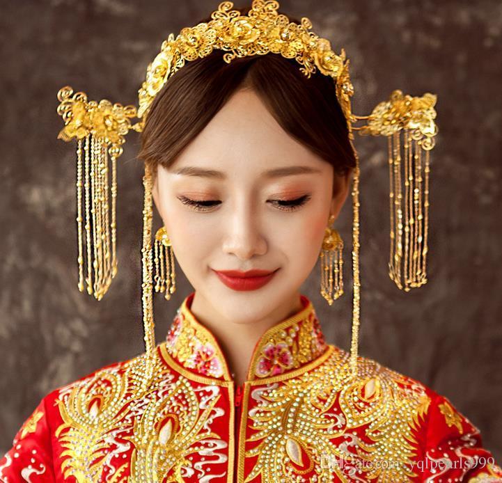 Nakrycia głowy ślubne 2018 Zestaw kostiumów w nowym stylu, shake step, Phoenix Crown, Fringed Chiński Akcesoria do włosów
