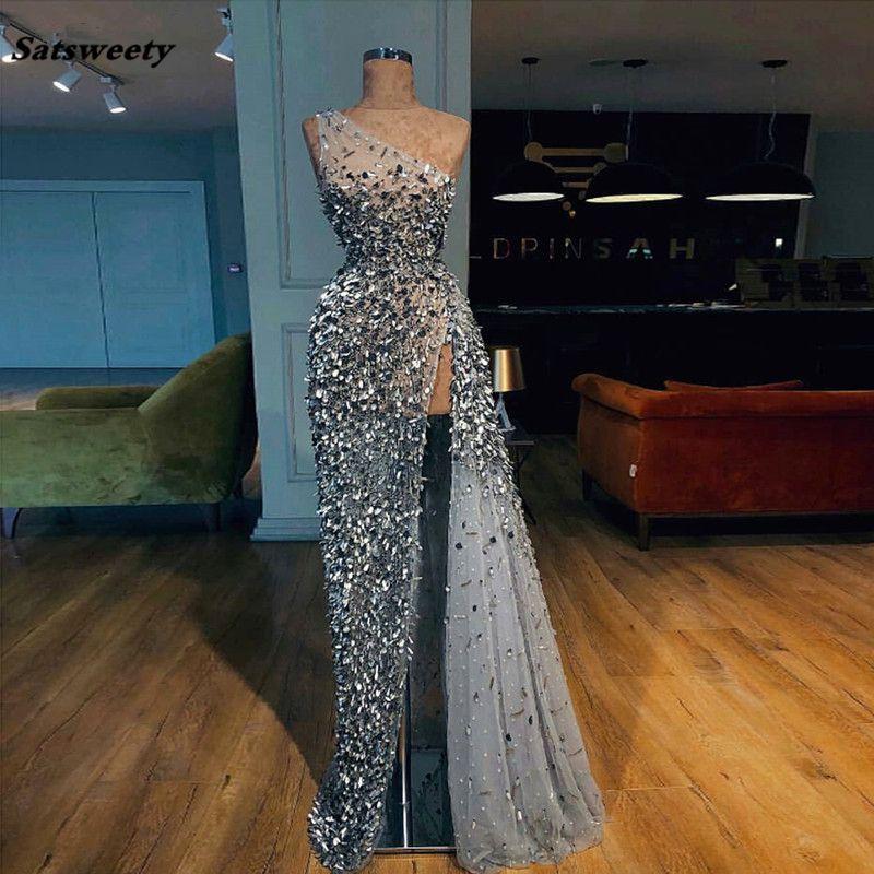 Custom Made A-ligne d'une épaule robe de soirée 2021 avec perles en cristal lourd pailletée longueur de plancher Parti Robes de bal