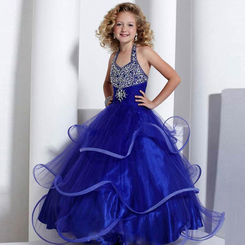 Конкурс Дети платье синий бисером девушки цветка платья для свадьбы девушки длина пола ребенка День Рождения платье