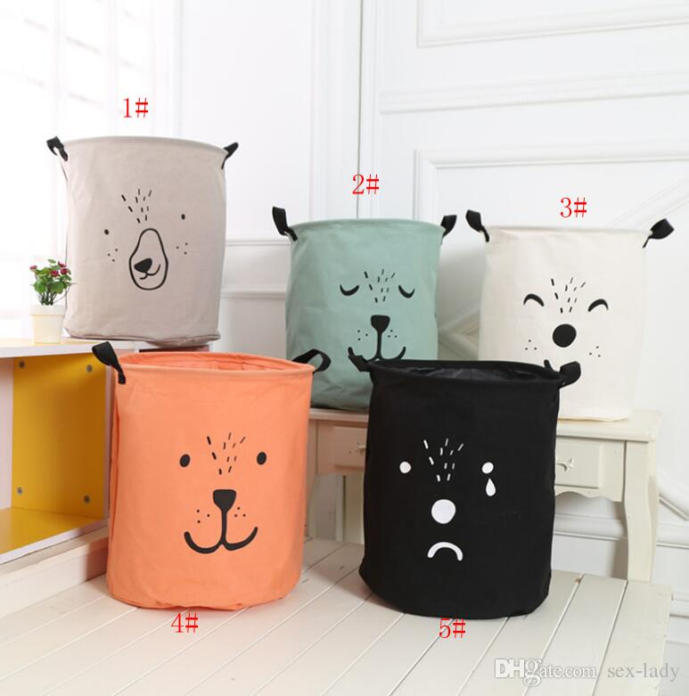 INS Bag INS Cartoon Bear Laundry Bag Kids Room Storage Bags for Toys Household Foldable Laundry Basket Cloth Hamper