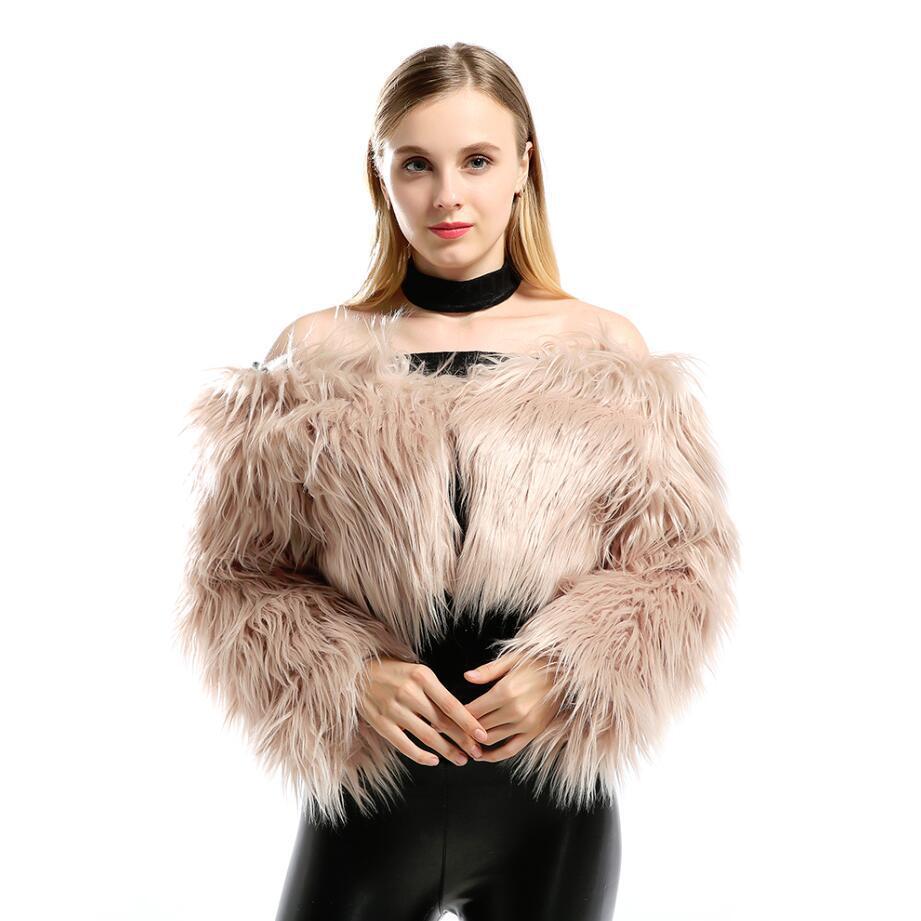 Sonbahar Kış Yeni Kadın Moda Faux Kürk Palto Ceket Seksi Kısa Tekne Boyun Sahte Kürk Kadınlar Sıcak Kürk Dış Giyim w003 kalınlaştırın