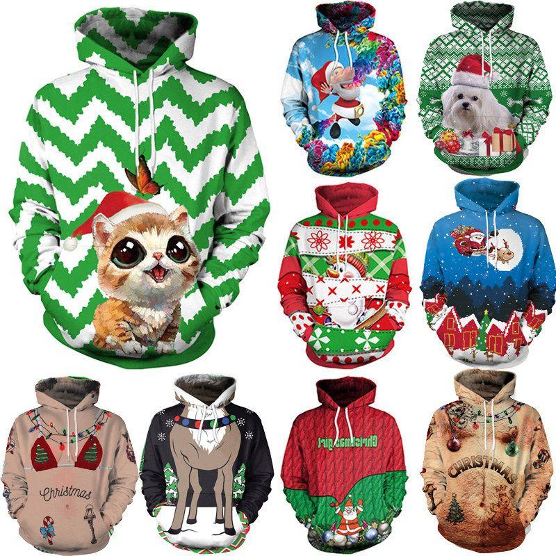 Winter Christmas Couples Streetwear Women Casual Autumn Sweatshirts Unisex Novelty Xmas Hoodies Female Santa Claus Printed Sweaters