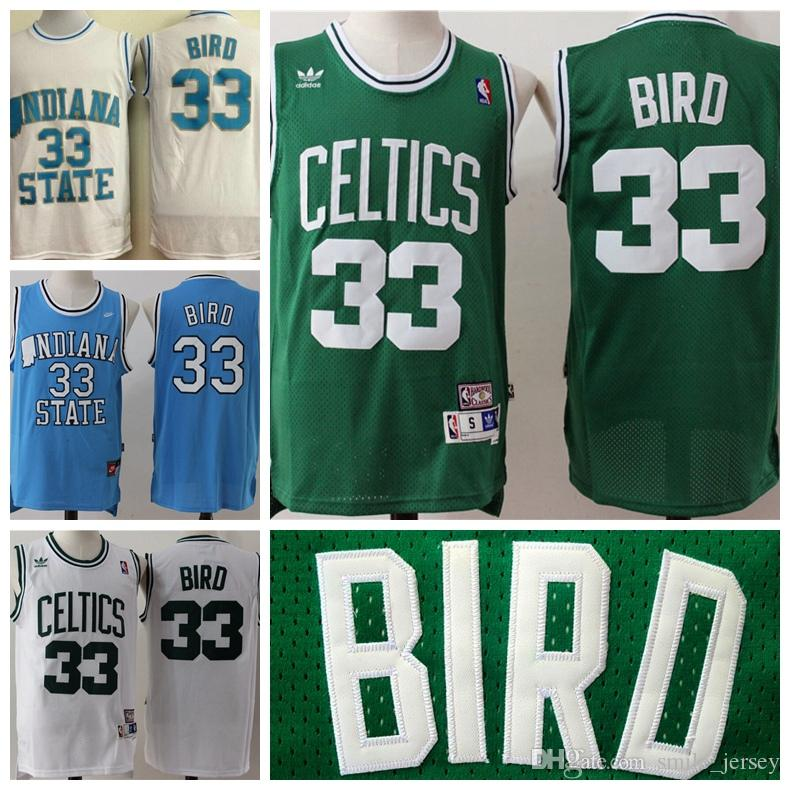 New Men/'s  Larry Bird Retro Basketball Green S-M-L