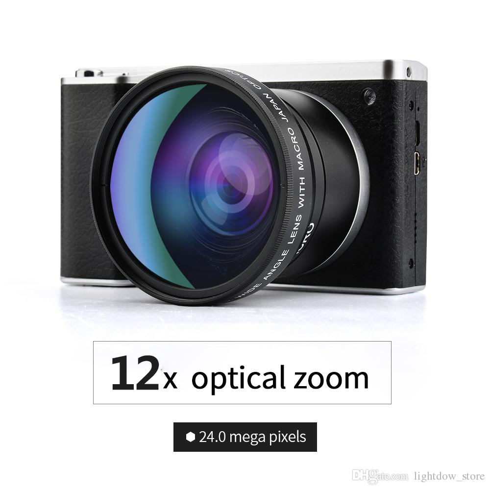 "Lightdow 4.0"" IPS Touch Screen 24MP 12X Optical Zoom Full HD Professional Digital Camera Video Recorder with 52mm Wide Angle +Macro Lens"
