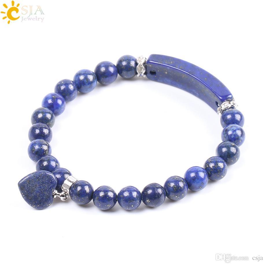 CSJA 8mm Natural Lapis Lazuli Bracelet for Female Gemstone Mala Beads Bracelets Meditation Prayer Chakra Love Heart Charms Jewelry F106