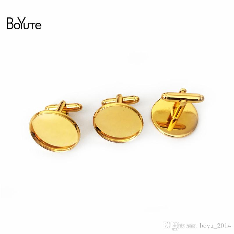 BoYuTe 50 Pcs Round 12MM 14MM 16MM 20MM Cabochon Base Metal French Cufflink Blanks Tray Bezel Diy Jewelry Accessories