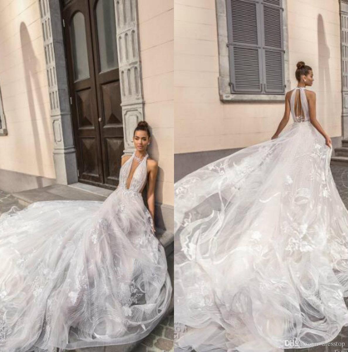 Elihav Sasson 2019 vestidos de novia que cuelga del cuello sin respaldo vestidos de novia de la boda apliques barrer el tren del castillo de la boda vestido de novia por encargo