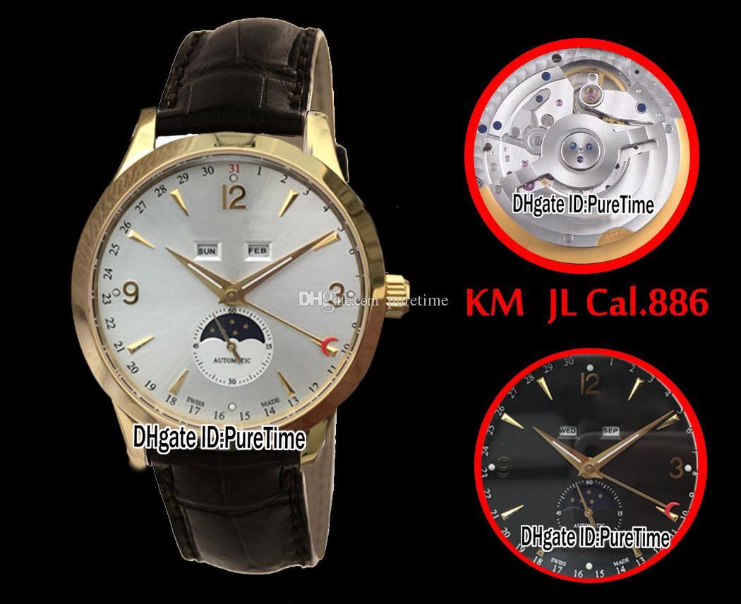 Najlepsza edycja KM Master Calendar 1558420 Żółty Gold White Dial ETA CAL.886 Automatyczne męskie zegarek Purestime (poprawna faza księżyca) jl5