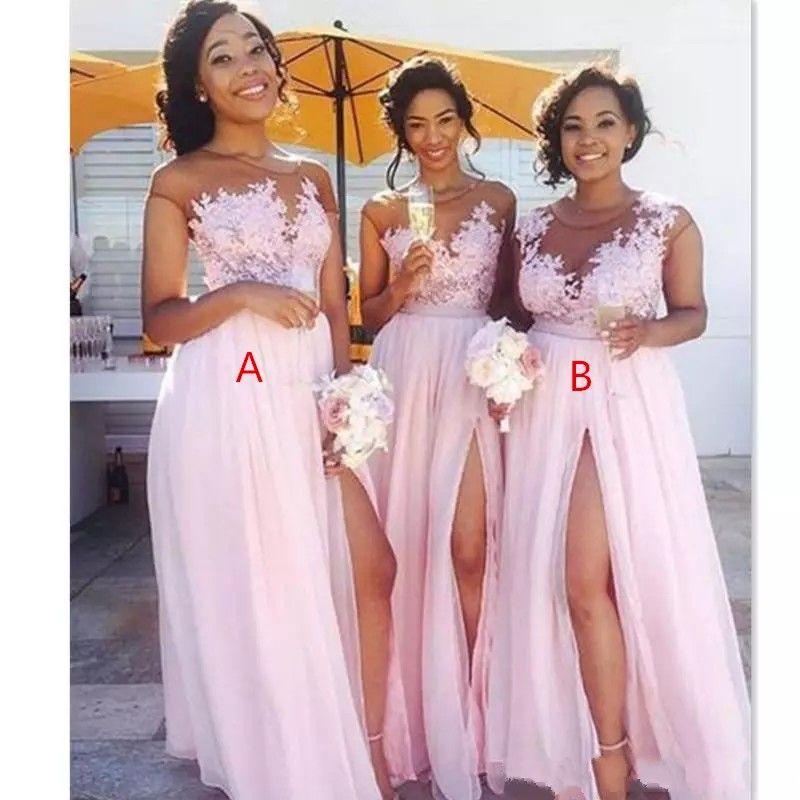 2021 chiffon barato blush vestidos de dama de honra rosa apliques ilusão corpete sexy split verão negro mulheres doméstica de honra bm0146