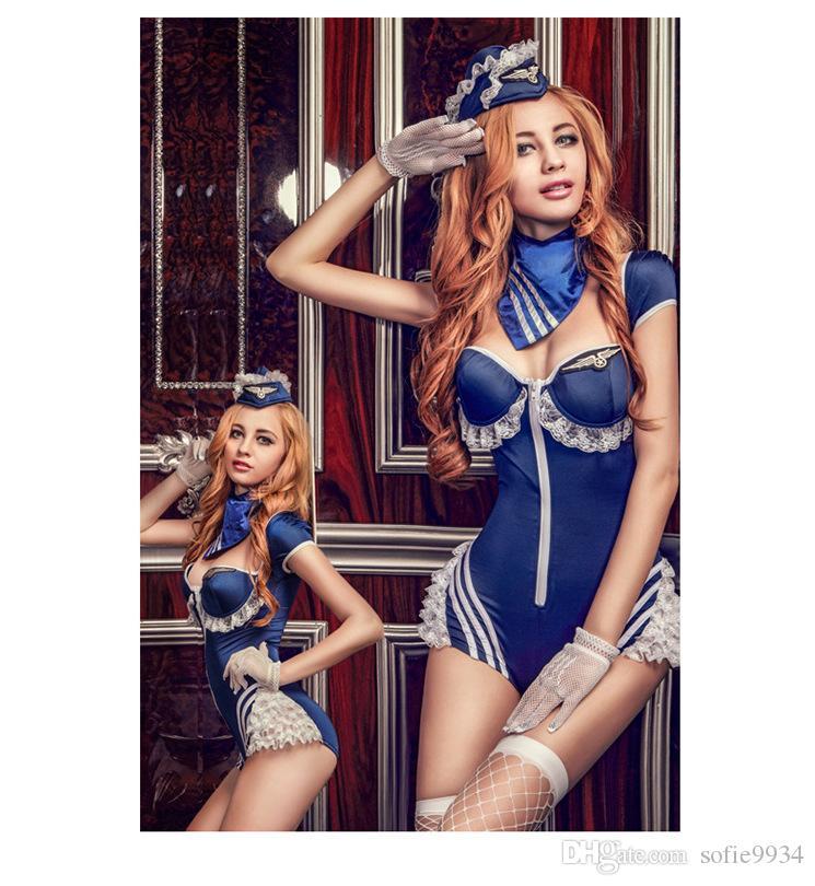 Bayan Seksi Mavi Cadılar Bayramı Partisi Havayolu hostes Üniforma Kostümleri Kıyafet Fantezi Cosplay Cadılar Bayramı Kostüm