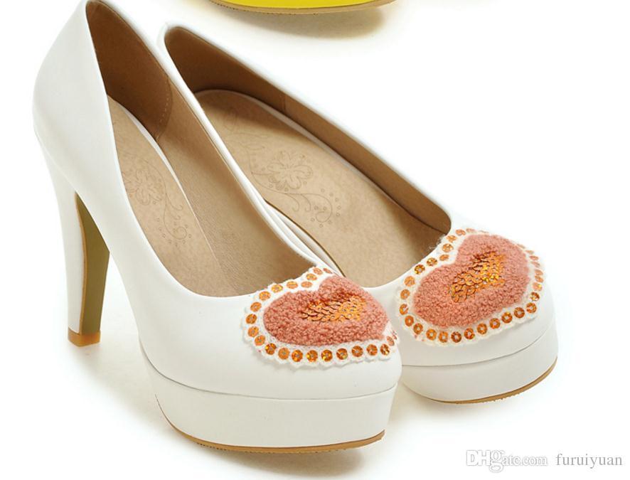 Бесплатно отправить горячей круглой головкой воды дрель туфли на высоком каблуке большой размер 44 45 46 47 48 ярдов грубый каблук женская обувь