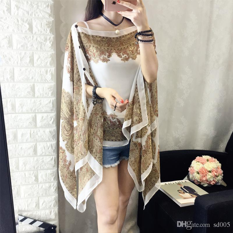 Spring Summer Sunscreen Clothes Female Lady Girls Thin Coat Long Sleeves Chiffon Clothes Warm Beach Showl Fashion 10ld bb