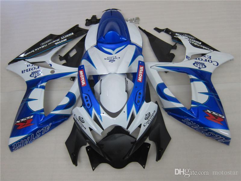 Formowanie wtryskowe Czarny Biały Blue Alstare Corona Coring Kit dla Suzuki 2006 2007 GSXR 600 750 K6 GSXR600 GSXR750 06 07 Nadwozie FG56