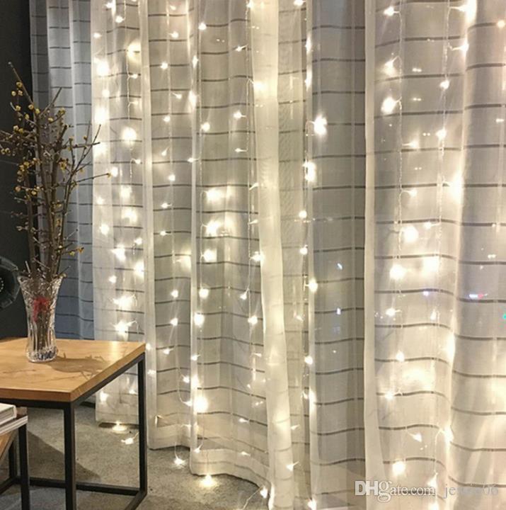 Водопад занавес огни Светодиодные сосулька свет Шнура свадьба Главная рождественские фоны украшения медный провод светодиодные лампы бусины
