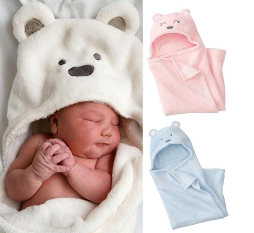Hooded Plush Swaddle Blanket, Extra Soft Blanket Premium 100% Coral Velvet Bath Towels for Kids Newborn Joyful Cartoon Design(Three Colors)