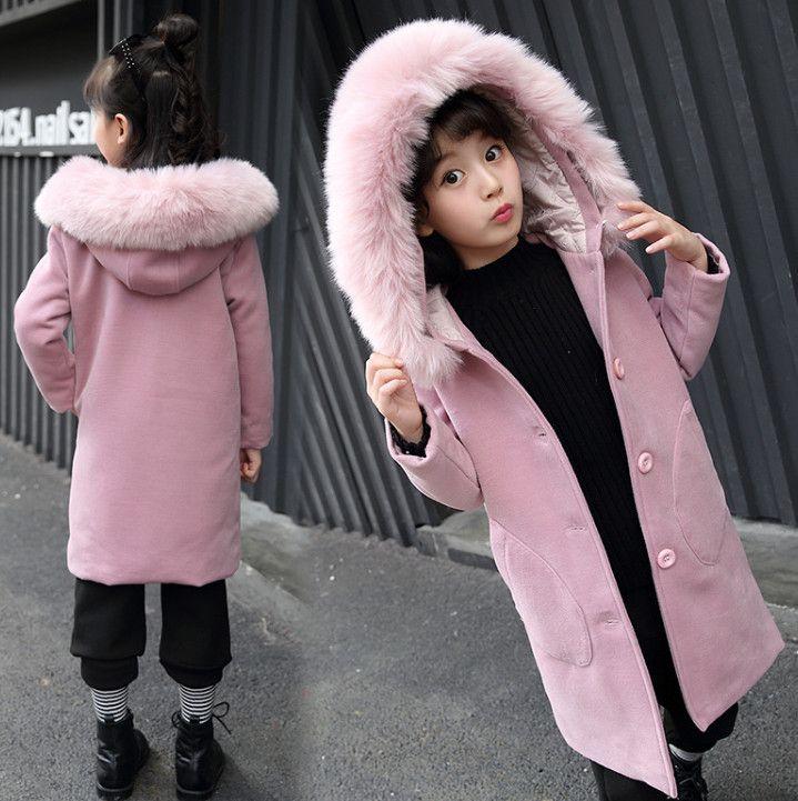 Big Girls Trench Woolen Cappotto Inverno Bambini Faux Pelliccia con cappuccio con cappuccio Addensare Scaldavito Scaldatore per bambini Doppia Pocket Pink Princess Outwear R1708