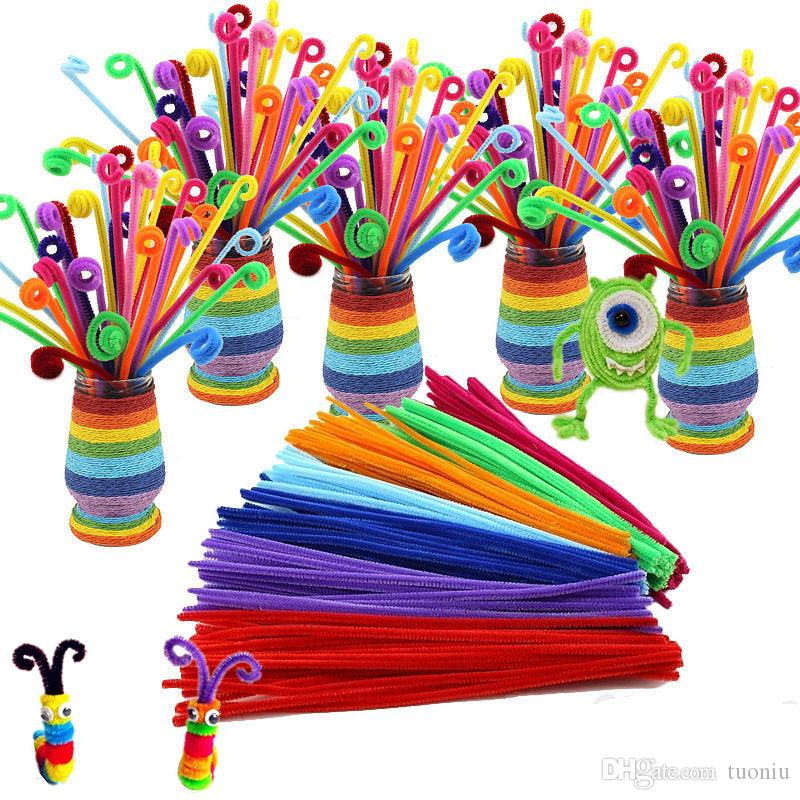 100pcs/lot bendaroos Montessori Materials Math Chenille stems Sticks Puzzle Craft Children Pipe Cleaner Educational Creative Toy