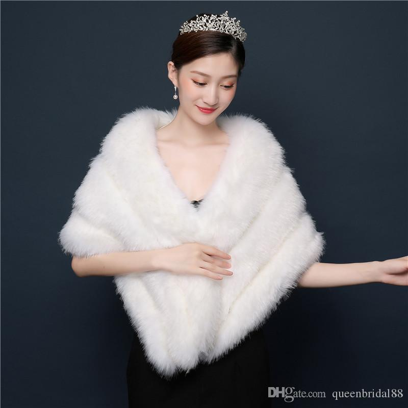 2019 Bride Wedding Shawl Imitation Mink Wedding Dress Accessories Wedding Boutique Wraps for Women Any Occasion