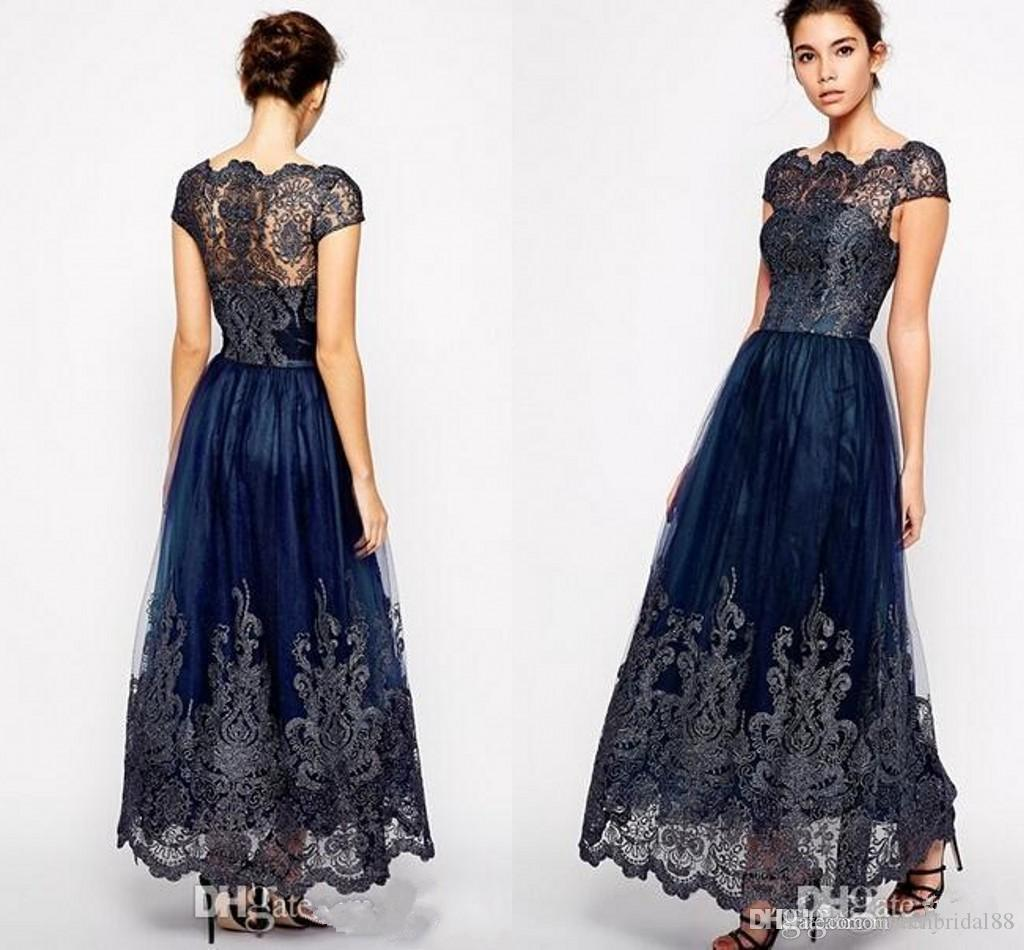 Modest Mother of the Bride Dresses with Lace Capped Sleeves Applique Tulle A Line Evening Party Gowns