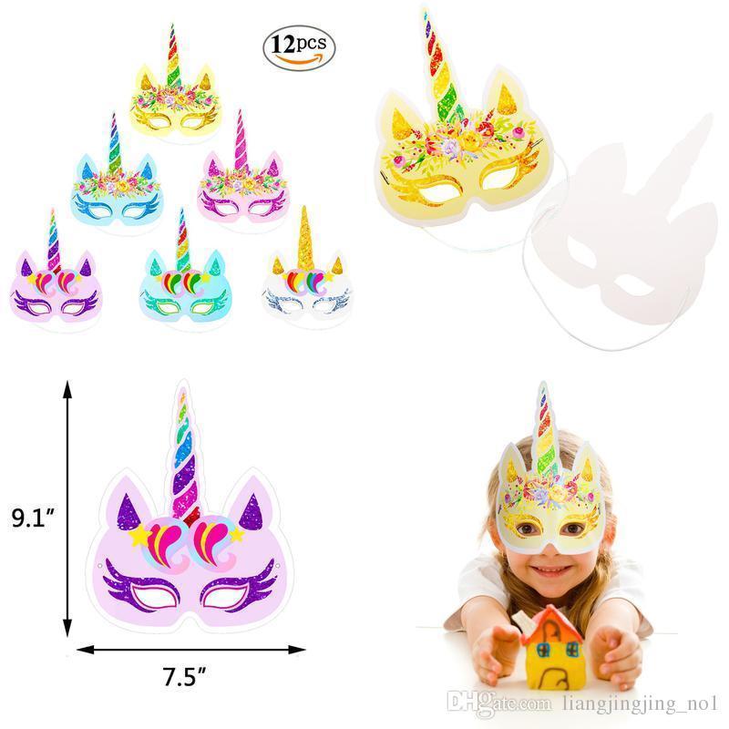 Glitter Unicorn Paper Mask 12Pcs Arcobaleno Unicorno Maschere di carta per bambini Baby Birthday Party Bomboniere Forniture BBA100