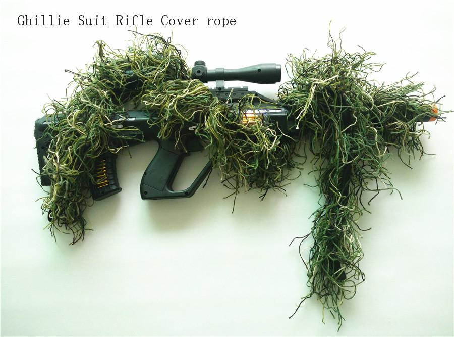 Hunting Rifle Wrap rope grass type Ghillie Suits Gun Cover For camouflage Yowie Sniper Paintball hunting clothing F246