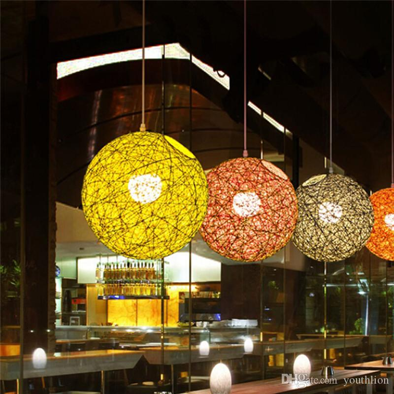 20 cm Rattan Ball Lamp Holder Light Case Hanging Pendant with E27 Suspension Wire Round Sucking Disk Random Color