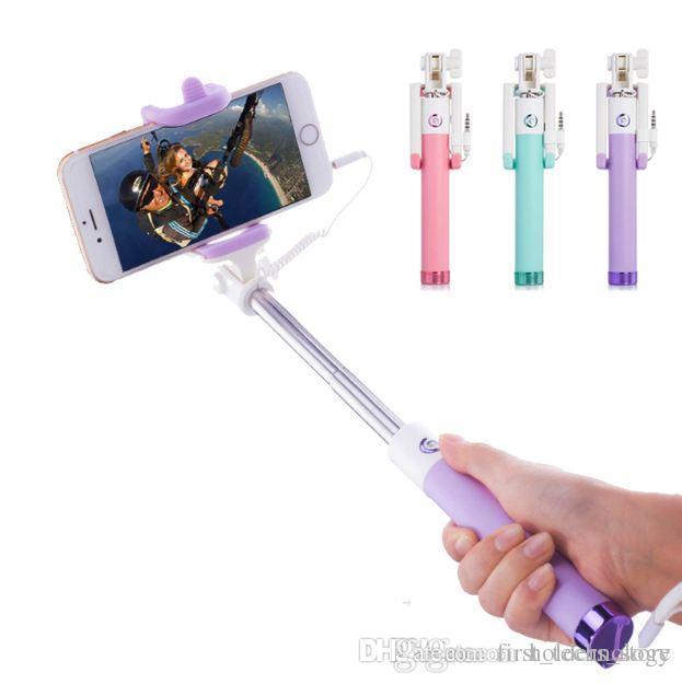 미니 Selfie 스틱 버튼 유선 실리콘 핸들 모노 포드 유니버설 아이폰 X 8 7 6 플러스 안드로이드에 대한 삼성 화웨이 Xiaomi 스틱