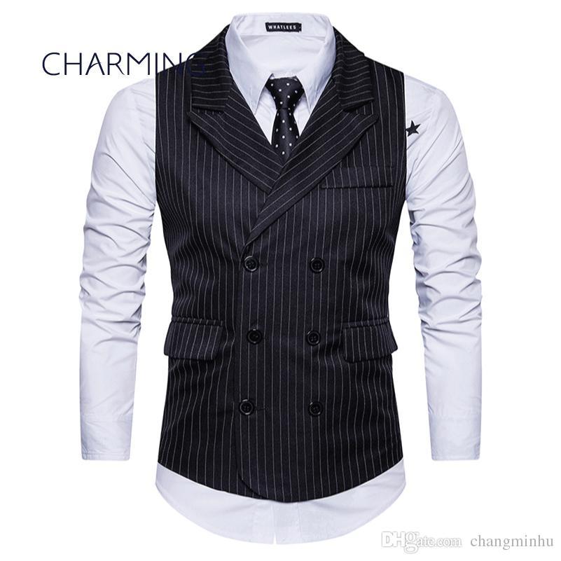 Vest Man Diamond Dark Blue Navy Pinstriped Striped Sleeveless Waistcoat Striped