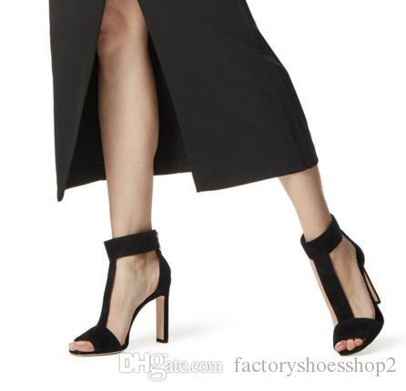 المرأة أنيقة ساحة تو عالية الكعب t- حزام الصنادل عارية اللمحة تو الكعوب مكتنزة الأسود فو الجلد المدبوغ اللباس أحذية السيدات أحذية الصيف