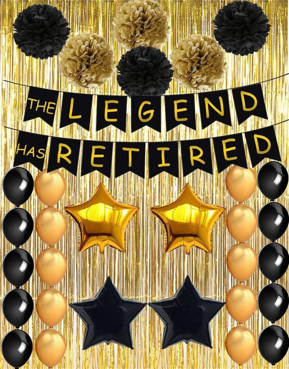 Banner de jubilación feliz para decoraciones de fiestas de jubilación Fiesta de jubilación de oro negro Supplie
