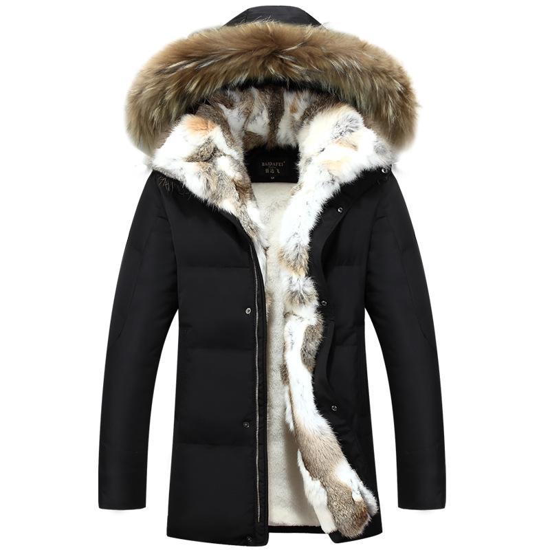 Uzun Kapşonlu Parkas Erkekler Kalın Erkek Kış Ceket Kaban Erkek Artı boyutu S-5XL Marka Giyim Man Coat Fur Yaka palto Isınma