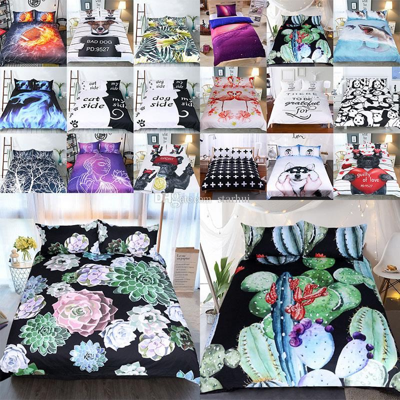 3D Printed Bedding Sets 3pcs/set Luxury Duvet Cover Pillowcases Home Bedding Supplies Christmas Decorative 45 Style Free DHL WX9-1031