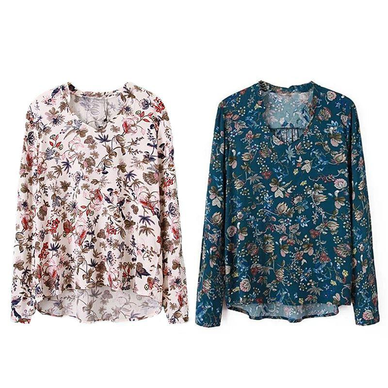 Womens Long Sleeves T Shirt Floral Pattern Blouse Ladies Fashion V Neck Tops 1PC