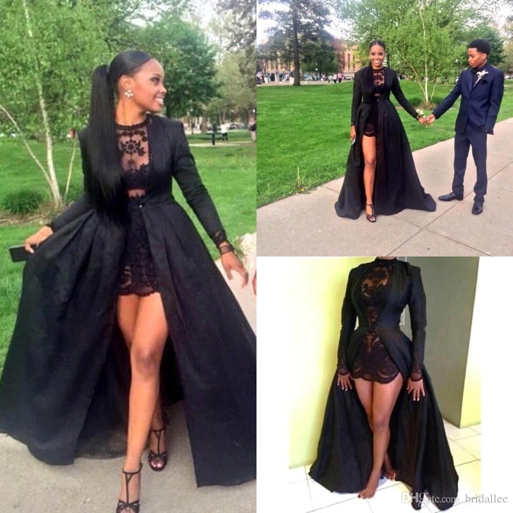 2k15 Negro Dos piezas Vestidos de baile Vestido corto de encaje con cuello joya con manga larga suelta Barrido de tafetán Chaqueta negra a medida