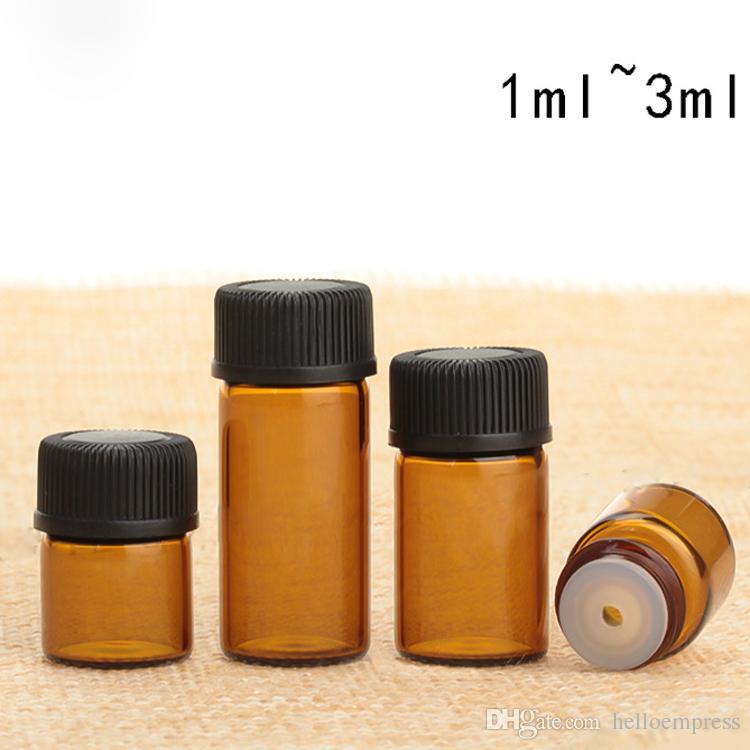Hohe Qualität Parfüm Bernstein Miniglasflasche 1ML 2 ml 3 ml, Kleine Probenfläschchen wesentliche Öl-Flasche 1CC 2CC 3CC 1800pcs / Karton Freies DHL