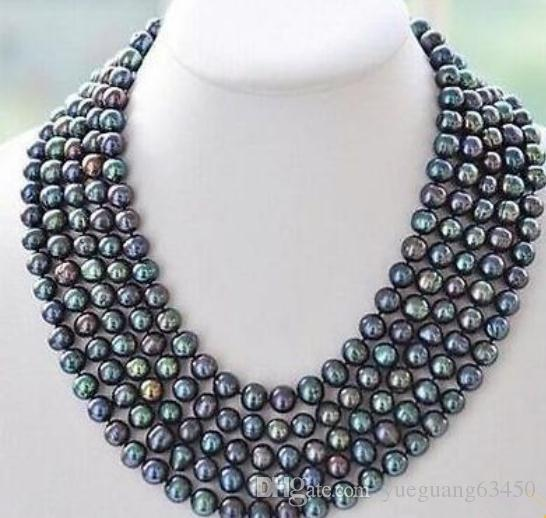 Noble 8-9mm South Sea Black Pearl Necklace 50 Inch 14k Gold Clasp